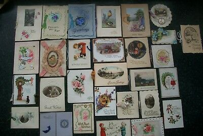 28 Antique Greeting Xmas Cards Embossed Die Cut Lace Hand Painted Masonia Tuck +