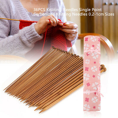 Bamboo Straight Knitting Needles Single Pointed 2mm to 10mm, 36pcs Weaving Tools