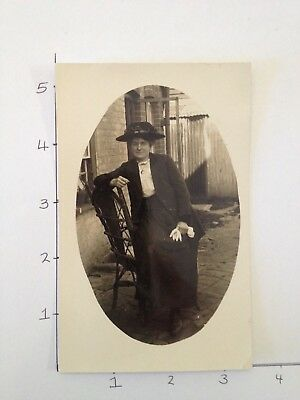 Authentic B&W Photo Post Card - Vintage - lady seated outside - FREE OZ POST