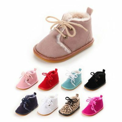 UK Baby Boy Girl Warm Boots Sneakers Velvet Soft Crib Pram Shoes Prewalker 0-18M