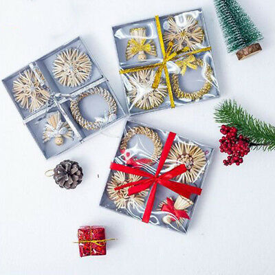 Straw Ornaments Set Assortment 4pcs in Box, Christmas Tree Decoration, Gifts