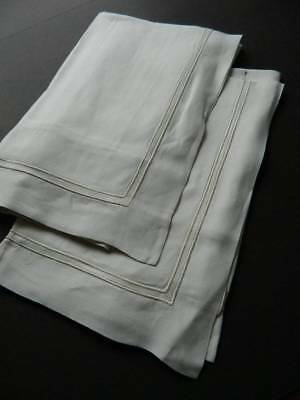 Pair vintage UNUSED white Oxford Irish linen pillowcases with whipcord hems