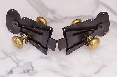 A Pair of Early English Antique Hand Made Iron and Brass Sprung Latches