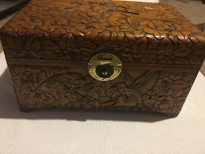 Vintage Highly Decorative Carved Camphor Wooden Trinket Box Scarf Box Wood Box