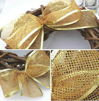 """5"""" 10"""" Clip On Luxury Wired Christmas Tree Bow   Sparkly Gold Mesh Wreath Gift"""