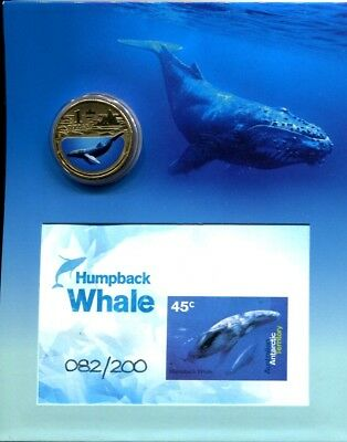 2013 AAT Humback Whale stamp imperf minisheet and coin set Ltd Edt of 200
