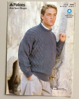Knitting Pattern Mens Aran Sweater 3 Designs 34 44chest Cabled