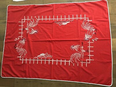 Vintage Tablecloth Cross Stitch Chicken Rooster Country Farm Pattern Rectangle