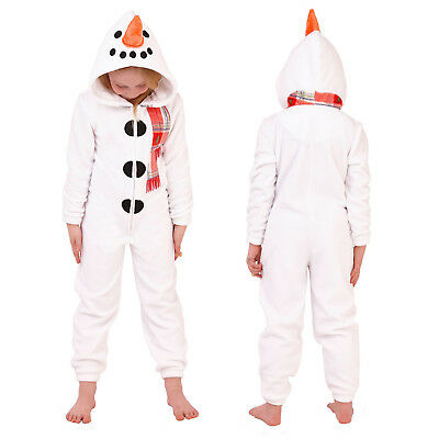 Nifty Kids 3D Snowman All In One New Super Soft Fleece Childrens Xmas Jumpsuit