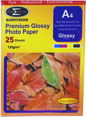 25 Sheets Pack Sumvision A4 Inkjet Printer Premium Photo Glossy Paper 135gsm