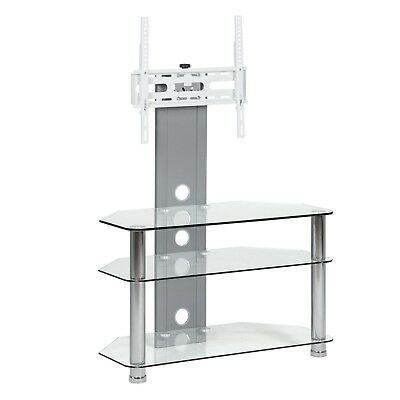 Black Glass Tv Stand Shelf 3 Tier Storage Shelves For 42 Inch Flat