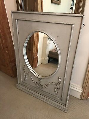 Antique Grey French Chateau Over Mantle Mirror 19th Century