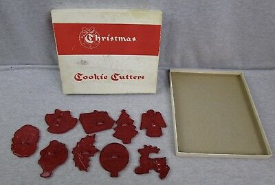 Vintage Educational Products Complany Christmas Cookie Cutters Lot of 9 Red Xmas