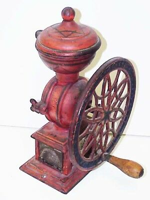 Antique 1875 Cast Iron Swift Mill Lane Brothers Coffee Grinder Single Wheel Burr