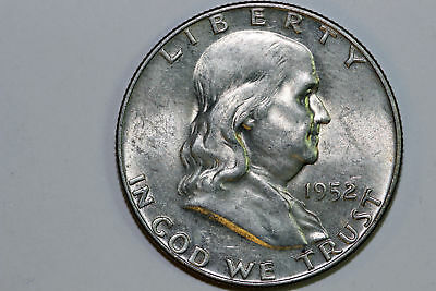 About Uncirculated Super Slider 1952 D Franklin 90% Silver Half Dollar (FHX1005)