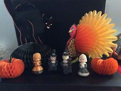 Vintage Halloween Cat Thanksgiving Turkey Gurley Sunset Candle Pilgrim Hallmark