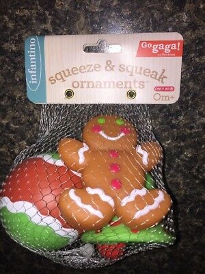 Infantino Baby 1st Christmas Toy Squeeze/Squeak Ornaments Gingerbread+New Target