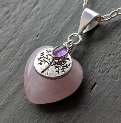 Rose Quartz Heart, Amethyst Tree of Life Pendant Wicca Crown Chakra Necklace