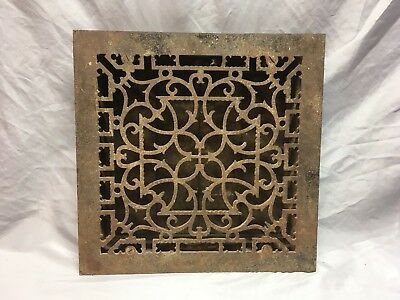 Antique Cast Iron Victorian Heat Grate Floor Register 14x14 Vtg Old 424-18E