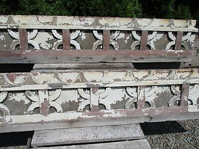 13' Antique Victorian Gingerbread Trim - White & Red Distressed Chippy Paint