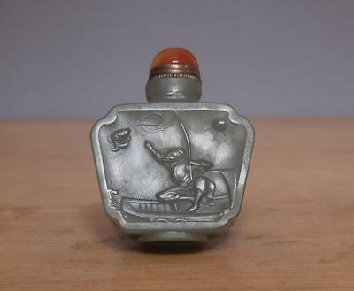Vintage Chinese Celadon Carved Nephrite Hetian Jade Snuff-bottle w/ fishing