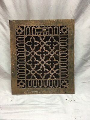 Antique Cast Iron Gothic Heat Grate Floor Register 12x10 Vtg Old 426-18E