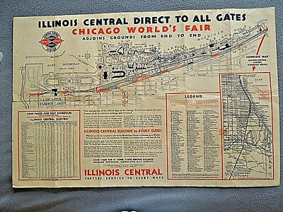 RARE VINTAGE 1933 Chicago World's Fair / Illinois Central Railroad on programming language map, honey map, cauldron map, alchemy map, halloween map, freshwater map, silver map, fancy map, ruby map, amulet map, potter map,
