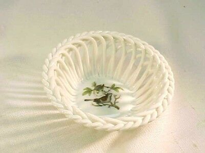 Beautiful Vintage Herend Hungary Small Porcelain Woven Basket Bowl With Birds