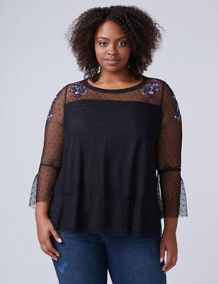 fda469bc80d Lane Bryant Plus Size BLACK Embroidered Floral Mesh Sleeve Top Shirt 18 20  2X NW