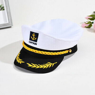 Unisex Women Men Skipper Hat Yacht Sailor Navy Captain Boat Ship Headgear Cap US