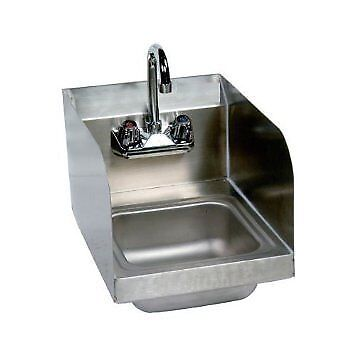 """Stainless Steel Hand Sink with Side Splash - NSF - Commercial Equipment 10"""" X"""