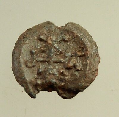 Ancient Byzantine lead Seal with monograms  D= 20-21mm  8g