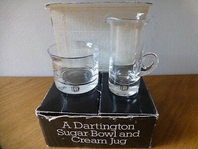 Vintage Dartington Crystal Glass Set Sugar Bowl And Cream Jug Ft 147 In The Box