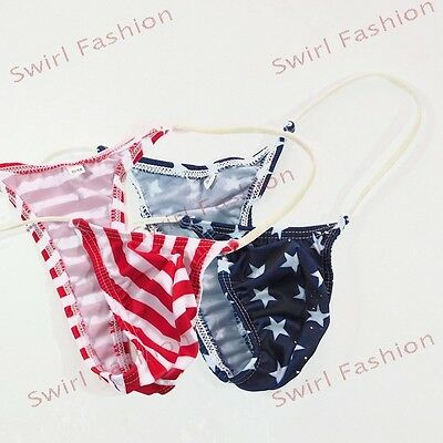2 pcs K205 Mens Micro Bikini Thong String waist Mini Pouch Star Stripes
