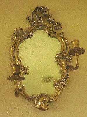 Anitique Brass Art Nouveau Wall Mirror w/ Candle Holders