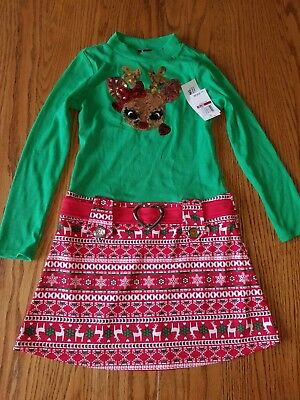 Nwt Girls Pink & Violet Christmas Rudolph Holiday Dress Red Green Sequin M 7 8