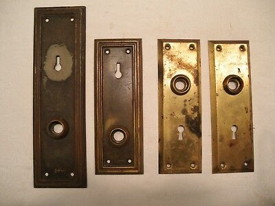 Vintage Antique Door Knob Plates Brass Metal Lot Of 4