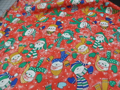 New 1.5 Yards One Piece Snowman Heads N Mittens Red Background