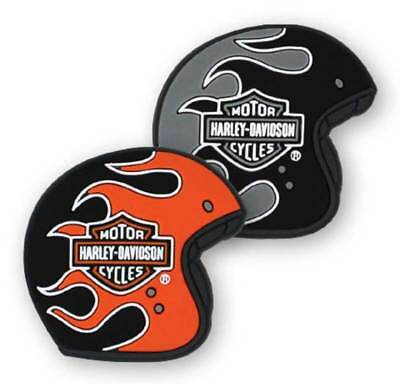 Harley-Davidson PVC Flaming Helmets Magnet Set, Set of 2 - Black DM33264