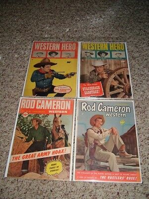 Lot of 4 Fawcett Golden Age Western Comics-Western Hero, Rod Cameron