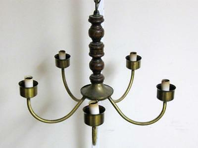 Vintage Wood Spindle w/ 5 Brass Arms Chandelier Hanging Light Fixture 80s Nice!