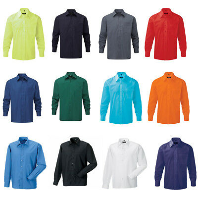 Mens RUSSELL Buttoned Long Sleeve Poly/Cotton Easy Care Poplin Shirts Size S-4XL