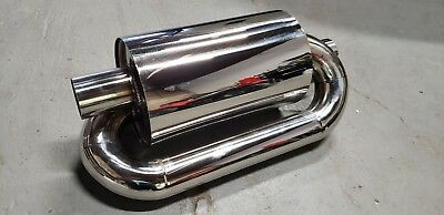 """1x Twin Loop Canister Style Sport Exhaust Muffler 2.0"""" Inlet JDM Euro Universal"""