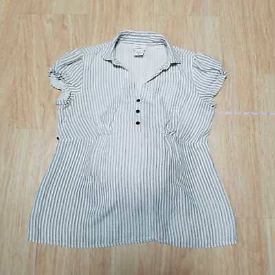Oh Baby M Motherhood Maternity Top Shirt White Striped Adjustable Pregnancy