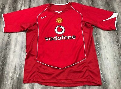 956cfde5560 NIKE 90 MANCHESTER UNITED Vodafone Red Football Club Soccer Jersey L ...