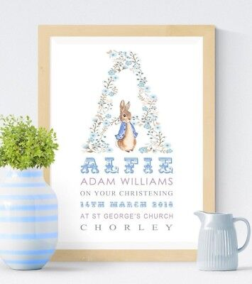 Personalised Peter Rabbit Print Christening Gift Nursery Baby Picture Wall Art