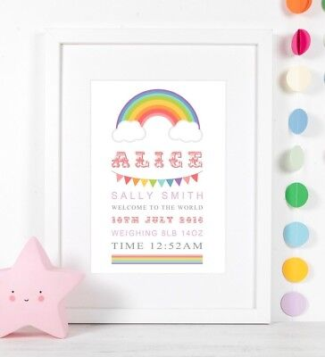 Personalised Rainbow Birth Print Christening Baby Gift Nursery Wall Art Picture