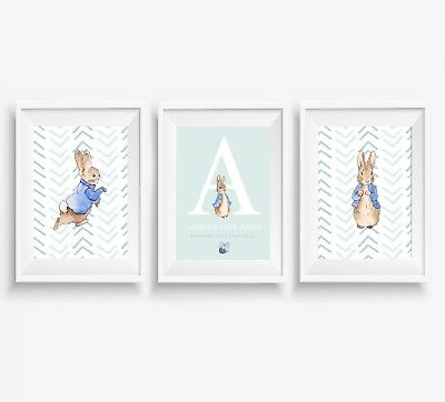 3 Peter Rabbit Prints Boys Personalised Name Nursery Wall Art Posters Pictures