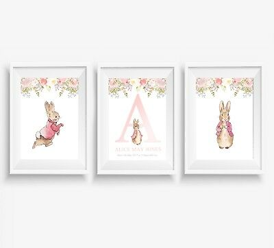 3 Peter Rabbit Prints Girls Personalised Name Nursery Wall Art Posters Pictures
