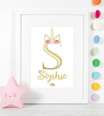 Personalised Unicorn Horn Print Birth Christening Gift Nursery Wall Art Picture